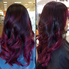 whocuts's Instagram posts | Pinsta.me - Instagram Online Viewer Black Cherry Ombre Hair, Red Ombre Hair, Ombre Haïr, Hair Color Balayage, Red Hair Color, Purple Balayage, Balayage Highlights, Plum Hair, Purple Hair