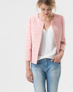 Blazers For Women, Cardigans For Women, Blazer Fashion, Fashion Outfits, Blazer And T Shirt, Chanel Style Jacket, Weekend Wear, Tweed Jacket, Look Fashion