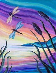 Join us for a Paint Nite event Sat May 2018 at 135 Southland Drive SE Calgary, AB. Purchase your tickets online to reserve a fun night out! by gay Easy Canvas Painting, Summer Painting, Easy Paintings, Diy Painting, Painting & Drawing, Canvas Art, Canvas Paintings, Dragonfly Painting, Dragonfly Art