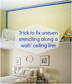 Can't seem to get the edges right when stenciling an accent wall? No problem here is an easy trick. www.whatsurhomestory.com