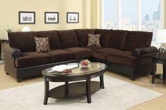 F7102   Chocolate Microsuede Sectional Sofa   Furniture2Go