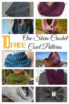 10 Free One Skein Crochet Cowl Patterns Perfect for a last minute Christmas gift idea! Pin 10 Free O One Skein Crochet, Crochet Scarves, Crochet Shawl, Diy Crochet, Crochet Clothes, Cowl Patterns, Knitting Patterns, Crochet Patterns, Crochet Gifts