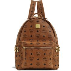 MCM Small Stark Backpack ($605) ❤ liked on Polyvore featuring bags, backpacks, pocket backpack, brown backpack, leather key ring, real leather backpack and mcm