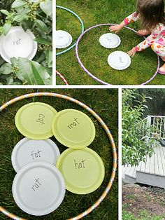 Outdoor Rhyming Game: begin with pictures and then transition to word families!!