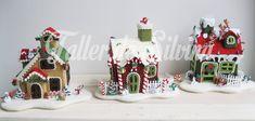 Villas navideñas con botones. Christmas Crafts, Xmas, Christmas Ideas, Pasta Flexible, Fondant Cakes, Gingerbread, Holiday Decor, Villas, Ideas Para