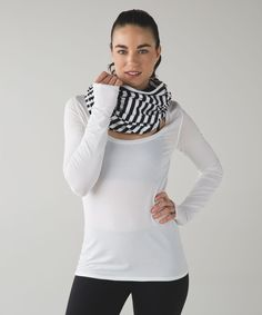 Release Date: 10/2015. Original Price: $58. Materials: Rulu. Color Code: AXBW. Edge Type: Finished. Logo Type: Tabbed Loop. Special Edition: *Zips. Why we made thisLayer up and get cozy in this no-fuss, customizable scarf .Key features                made with oh-so-soft and sweat-wicking Rulu fabric zipper closure puts the fit and look in your controlreflective locker loop for easy hanging                     importedFit + functiondesigned for: yoga, to-and-fromfabric(s): Rulu