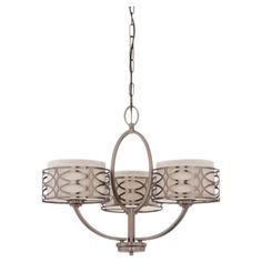 Bowed three-light chandelier with an interlocking openwork motif and khaki fabric shades.  Product: ChandelierConstr...