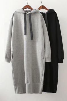 Sporty Oversized Pullover Midi Dress