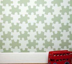 Contemporary Kids Decor - puzzle wallpaper