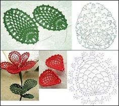 Crochet Flower & Leaves
