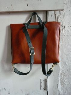 the rucksack briefcase in honey and slate