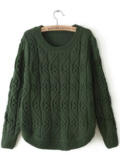 Army Green Round Neck Long Sleeve Cable Knit Sweater US$32.62
