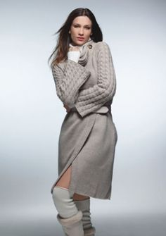Cashmere Fashion Turtleneck Jacket With Twists, Buttons, Ribbing, Ribbon
