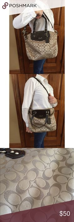 Authentic Coach Bag Authentic Coach Shoulder Bag! Beige and Dark Brown with minor wear/small snags, not visible while wearing the bag! Photo 3 shows small snags! Still in great condition!! Coach Bags Shoulder Bags