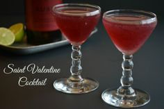 A festive cocktail for Valentine's Day - The Saint Valentine: port wine, rum, orange curacao, and fresh lime juice! #valentines #cocktail