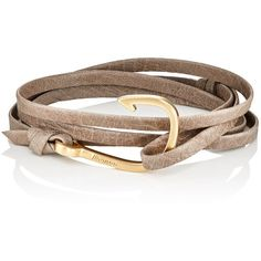 Miansai Men's Hook On Leather Wrap Bracelet ($80) ❤ liked on Polyvore featuring men's fashion, men's jewelry, men's bracelets, brown, men's wrap bracelet, mens bracelets, mens watches jewelry and mens leather bracelets