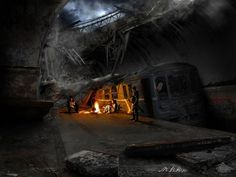 Dmitry Glukhovsky - Metro 2033 - Comment by Torby. Metro 2033, Post Apocalypse, Apocalypse Survival, Apocalypse Aesthetic, Cyberpunk, Story Inspiration, Writing Inspiration, Post Apocalyptic Art, Matte Painting