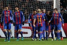 Lionel Messi of Barcelona (R) celebrates scoring his sides second goal with his Barcelona team mates during the UEFA Champions League Group C match between Celtic FC and FC Barcelona at Celtic Park Stadium on November 23, 2016 in Glasgow, Scotland.