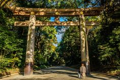 The torii (gate) closest to Harajuku station.  By looking at the woman near it, you can get an idea of the size