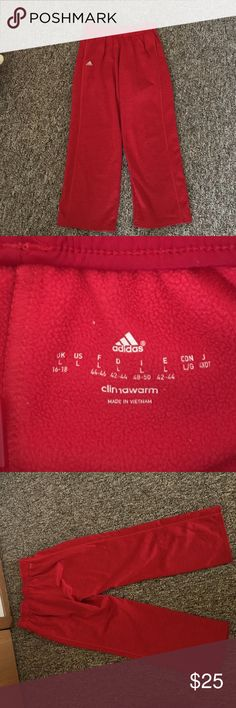 Adidas Women's Climawarm Red Sweatpants Adidas Climawarm Red sweatpants with two pockets and red drawstrings. Very soft and warm. Dry fit material on outside, fleece on inside. Only worn once but incredibly comfortable! Perfect condition! Silver accents also. Adidas Pants