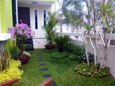 Taman Minimalis dengan tanaman berbunga
