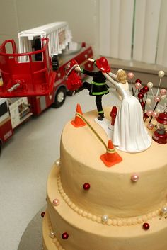 Cute Firefighter Wedding Cake | Shared by LION