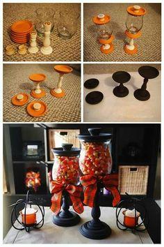 terra cotta saucers, hurricane candle jar, candle sticks, drawer pulls, glue, paint, bows