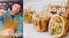 Join Brad Leone in the Bon Appétit Test Kitchen as he makes grilled (and stuffed! To avoid getting tough and chewy squid, you should either grill it fast and hot or low and slow. These squid tubes are stuffed with. Cooking Ingredients, Cooking Recipes, Bon Appetit Youtube, Squid Recipes, Fish Recipes, Seafood Recipes, Grilled Squid, Restaurant, Food Trends