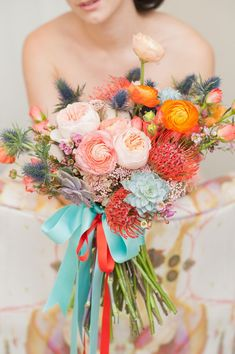 this bouquet is so bananas. Photos by Mikkel Paige Photography. Southwestern desert bouquet by Sachi Rose. Summer Wedding Bouquets, Floral Wedding, Rustic Wedding, Bright Wedding Flowers, Spring Weddings, Whimsical Wedding, Bouquet Bride, Peach Bouquet, Boquet