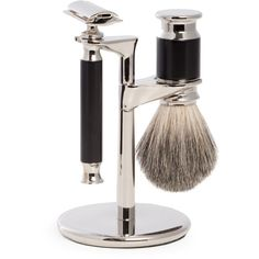 Bey-Berk Safety Razor & Pure Badger Brush (1.525 ARS) ❤ liked on Polyvore featuring men's fashion, men's grooming, men's shaving and black