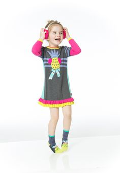 The announcement of Deux Par Deux's fall 2015 collection should arrive in a speech bubble, that's the cartoon quality of the bright colors and the superhero-like vibe of the boy's line. Here, the Ananas d'Hiver knit dress and socks, takes the pineapple out of its natural habitat and accessorizes it for a cold climate. www.deuxpardeux.com (designer preview)