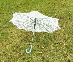 parasolka ręcznie wykonana na szydełku, parasolka koronkowa ślubna, komunijna, ozdobna.