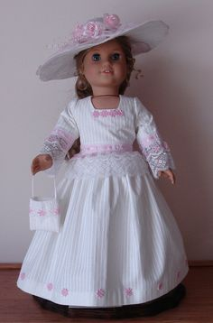 Pink and white Colonial Ball or Tea Gown by MargaretteDesigns4AG