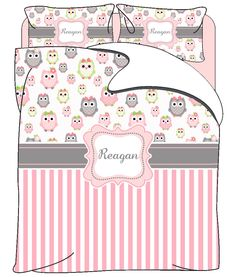 Owls and Stripe Custom Personalized Bedding- Available Twin, Queen or King Size- Any Colors by redbeauty on Etsy https://www.etsy.com/listing/202800517/owls-and-stripe-custom-personalized