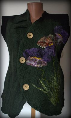 Felted wool vest for women Panssies by Gariana on Etsy