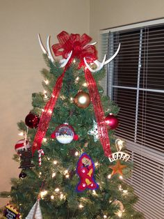 Awesome Deer Antler Tree Topper Made It Myself Pinterest Trees Easy Diy Christmas Decorations Tissureus