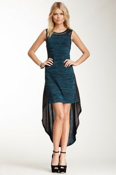 HauteLook | Romeo & Juliet Couture Hi-Lo Faux Leather Dress, heathered teal and heathered red