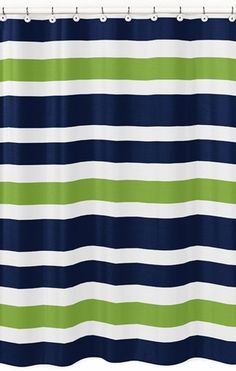 navy blue shower curtain images | Navy Blue and Lime Green Stripe Kids Bathroom Fabric Bath Shower ...