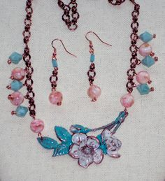 Spring has Sprung with this beautiful dogwood blooms on beaded copper chain from B'sueboutiuqes.com 4/23/2016