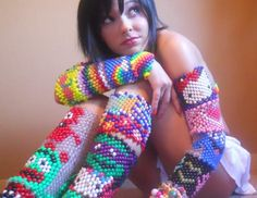 Kandi Kraze ~ Pony beads, elastic cord, and peyote stitch