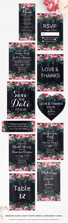 Navy Rustic Wood & Burgundy Floral - Wedding Suite. With Blush pink Wine and Marsala Peony Floral, and Navy blue Barn wood. So trendy and chic! On invitations, save the dates, cards, thank you, tags, favors, table numbers, bridal shower, welcome signs and much more!