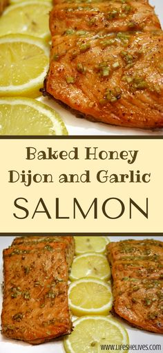 Baked Honey Dijon and Garlic Salmon is a great mid-week meal, as it requires very few ingredients and little meal prep. Plus, it tastes like a treat! (Baking Salmon Dijon)