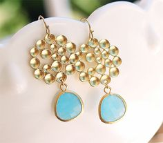 Gold Circle Earrings with Aqua Drop  Gold Filled by FiveThirty, $21.00