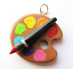 Artist Painter Paint Palette Polymer Clay Charm.