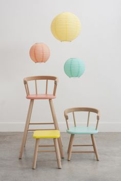 Bonton painted kids chairs - child's play interior design for the little people in your life Colorful Furniture, Kids Furniture, Painted Furniture, Furniture Design, Furniture Movers, Furniture Removal, Furniture Online, Furniture Stores, Cheap Furniture
