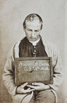 """R.B. Bontencou, Courtesey of Stanley B. Burns, MD..Andsell H. Beam, Age 24. Gunshot wound to head.   Wounded April 6, 1865, Farmville, VA. Civil War photo. ..the sheer horror of the army hospital vs the ability to find words & images to show the horror. """"The real war,"""" Whitman wrote in Specimen Days, """"will never get in the books."""" """"Now that I have lived for 8 or 9 days amid such scenes as the camps furnish,"""" Whitman wrote his mother, """"… really nothing we call trouble seems worth talking…"""
