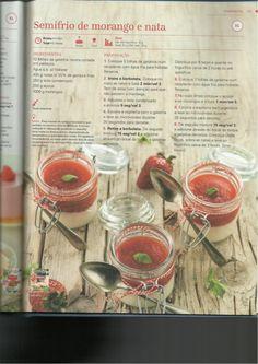 Semifrio de morango e natas