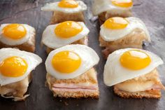 Mini Croque Madames A recipe for miniature French ham and cheese sandwiches that are toasted and topped with fried quail eggs, to make a stunning appetizer. One Bite Appetizers, Appetizers For Party, Appetizer Recipes, Quail Eggs, Mini Foods, Bite Size, Cooking Recipes, Favorite Recipes, Snacks