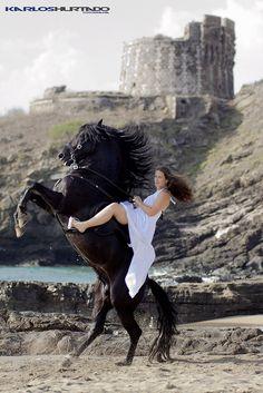Horses and Amazona in the  Menorca Island  -Photograph Karlos Hurtado -