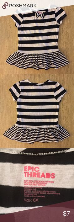 🔴2 for $6 SALE🔴 NWOT Epic Threads Girls Top NWOT Epic Threads Black and White Striped Girls Short-Sleeve Top Size 6X  🔴2 for $6 SALE🔴: Any 2 with 🔴 are $6! Comment on the items you want & I will create your own listing! 15% bundle discount not included.  🙋Any questions? Just ask!💬  🚭Smoke- & pet-free home🐶   👍Reasonable offers welcome!😄 🚫No returns or trades please!😝  💐15% off 2+ items! Just let me know what items you want and I will create your own listing to include this…
